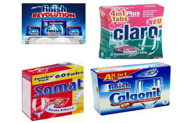 Четыре упаковки различных средств для посудомойки