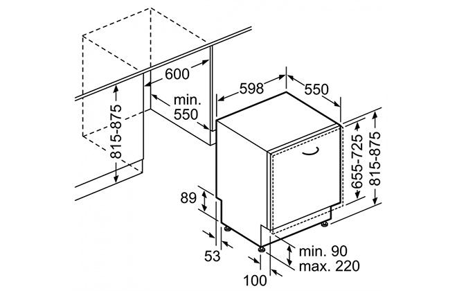 Габариты модели Bosch SMV46KX00E