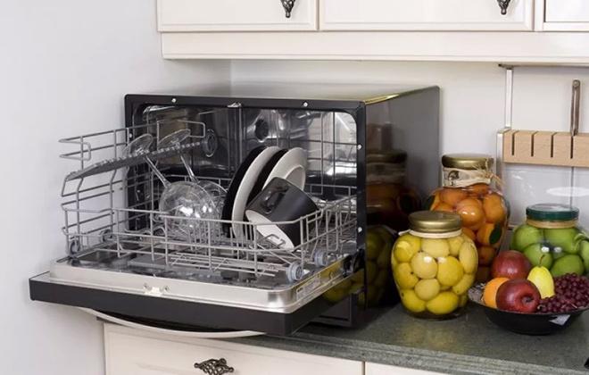 Настольная посудомойка в открытом виде