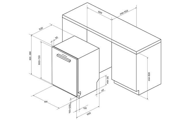 Размеры посудомоечной машины Kuppersberg для встраивания