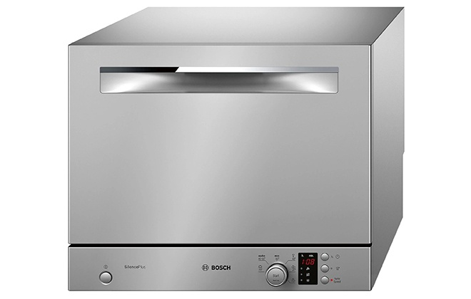 Серебристая настольная посудомойка Bosch SKS62e88