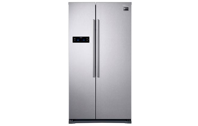 Серебристый двухстворчатый холодильник Samsung