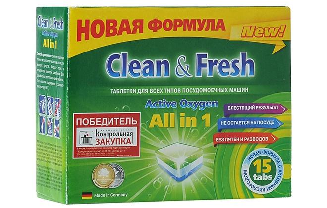 Таблетки в зеленой упаковке Clean Fresh all in 1