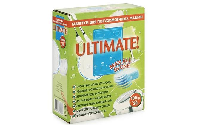 Упаковка Ultimate с таблетками для посудомойки