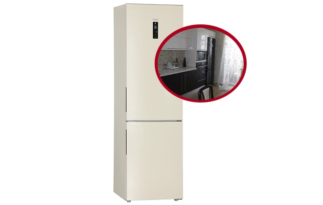 Бежевый холодильник