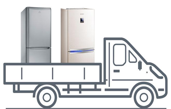 Грузовая машина с холодильниками