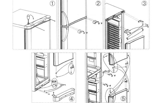 Схема перевешивания дверцы