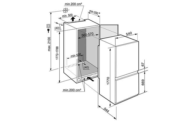 Габариты холодильника Liebherr ICUS 3324