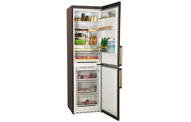 Холодильник Bosch Gold Edition KGN39AD18R с продуктами