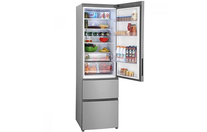 Холодильник Haier A2F637CXMV с продуктами внутри