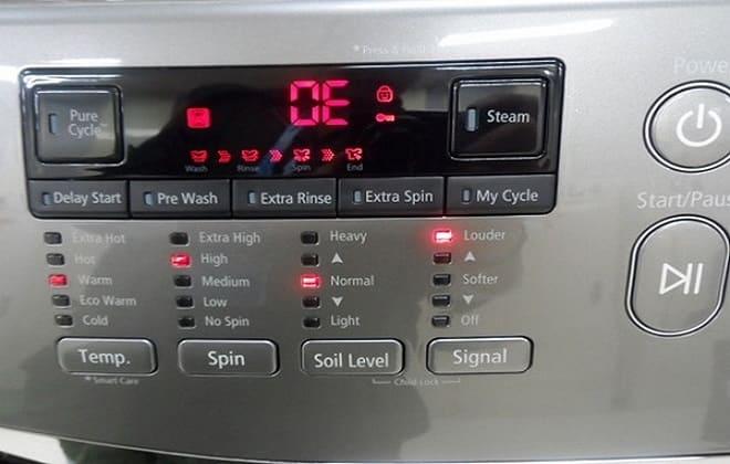Код ошибки ОЕ на стиральной машине