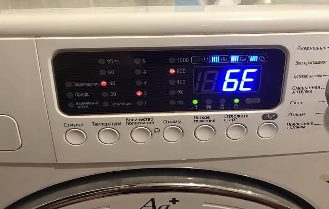 Ошибка 6Е на экране в стиральной машине Самсунг