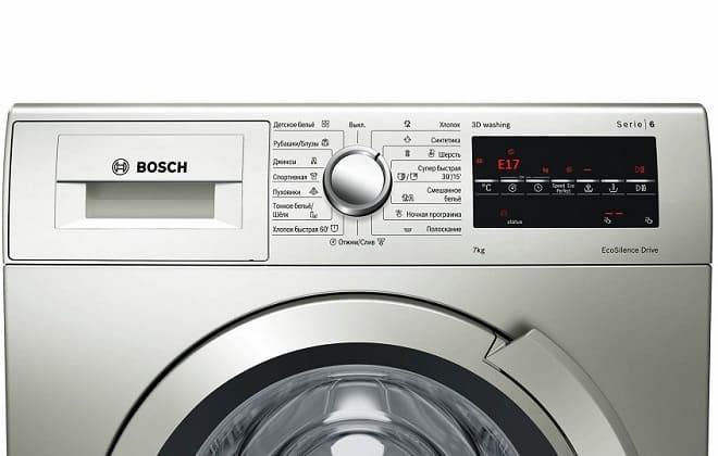Ошибка Е17 на экране стиральной машины Bosch