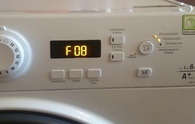 В стиральной машине Индезит ошибка F 08