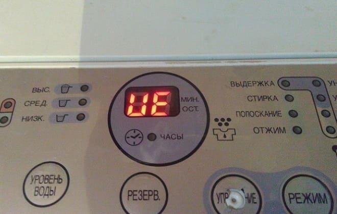 Ошибка UE на экране стиралки