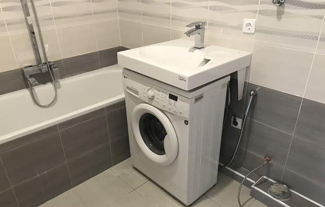Установка раковины над стиральной машиной автомат