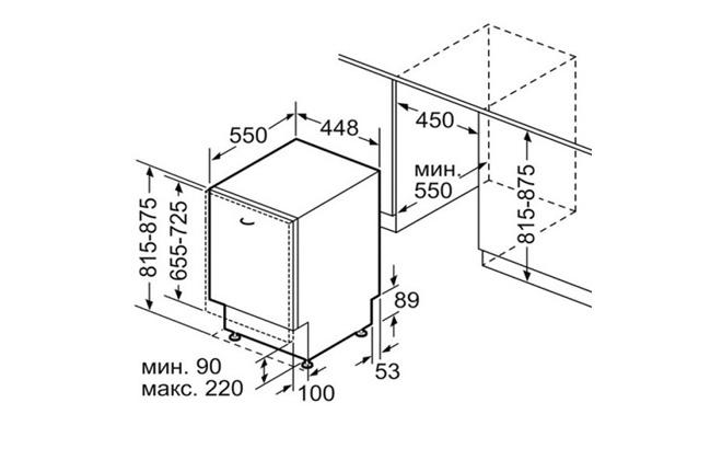 Габариты Bosch SilencePlus SPV45DX30R