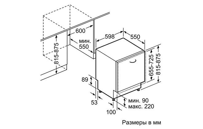 Габариты посудомоечной машины Bosch SMV23AX00R
