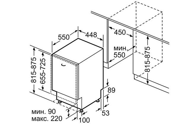 Габариты посудомойки Bosch SilencePlus SPV25DX30R