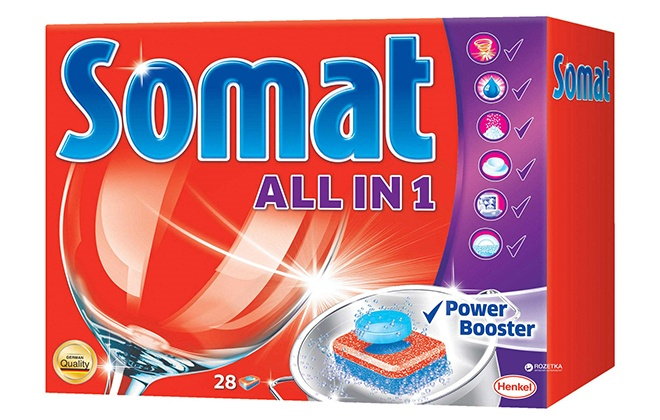 Красная упаковка с таблетками для посудомойки Somat all in 1
