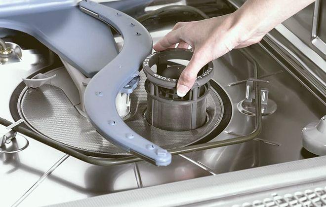 Очищение фильтра посудомойки