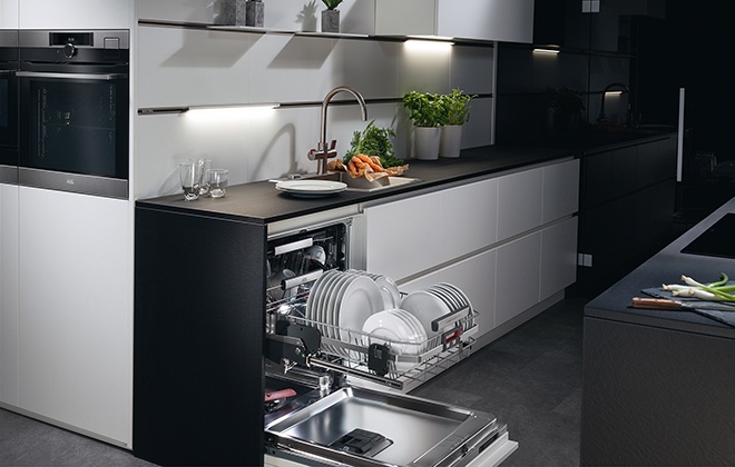 Встроенная в гарнитур посудомойка