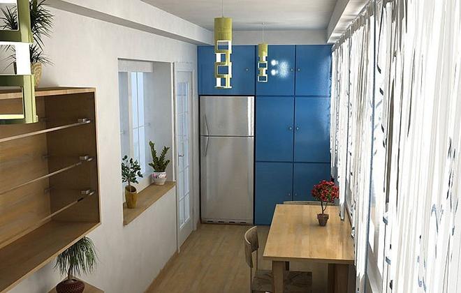 Кухня оборудована на балконе