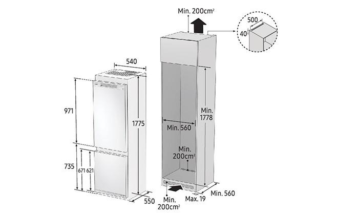 Габариты холодильника Samsung BRB260030WW
