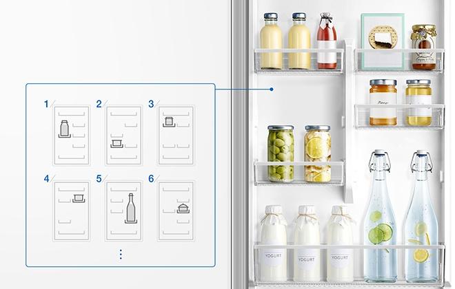 Варианты размещения продуктов на дверных полках