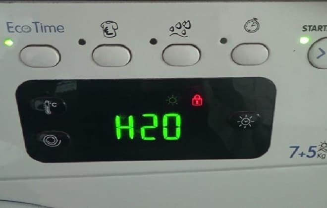 Ошибка H20 на экране стиральной машине Hotpoint-Ariston