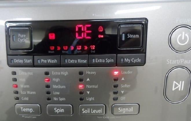 В стиральной машине LG ошибка OE на экране